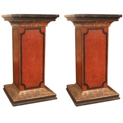 Pair of 19th Century Italian Red, Black, Silver Lacquered Faux Marble Pedestals