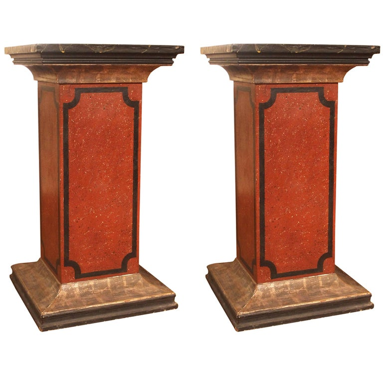 Pair of 19th Century Italian Red, Black, Silver Lacquered Faux Marble Pedestals For Sale