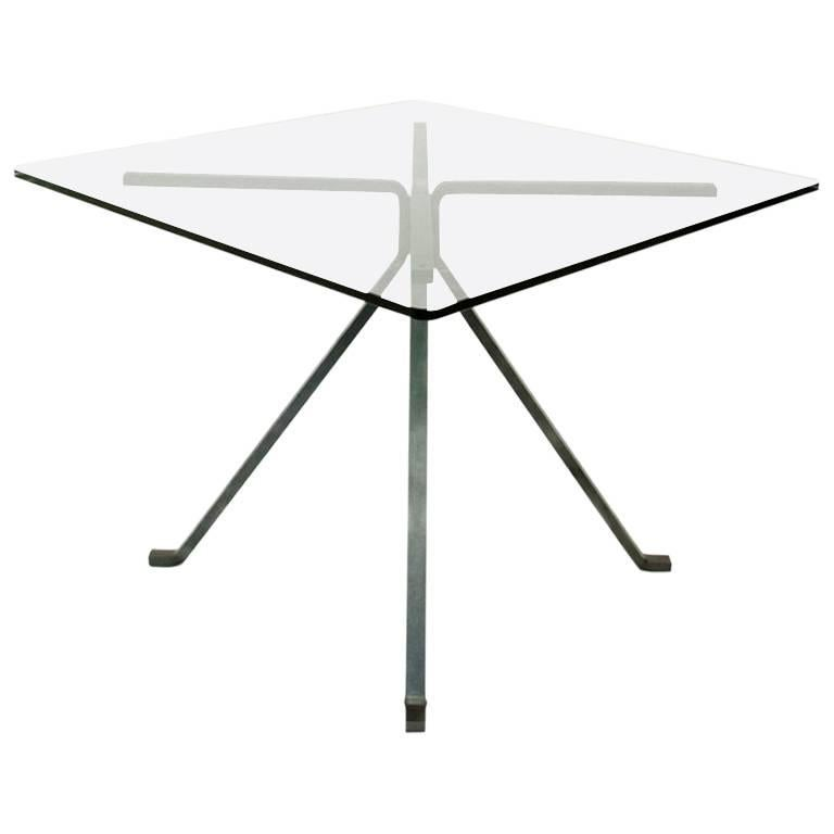 """Cugino"" Tempered Glass and Painted Steel Dining Table by Enzo Mari for Driade"