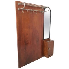 Art Deco Mahogany Coat Rack, Italy, 1940s