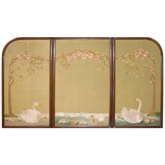Large Chinese Three-Fold Wall Screen with Silk Lotus Flower and Swan Embroidery