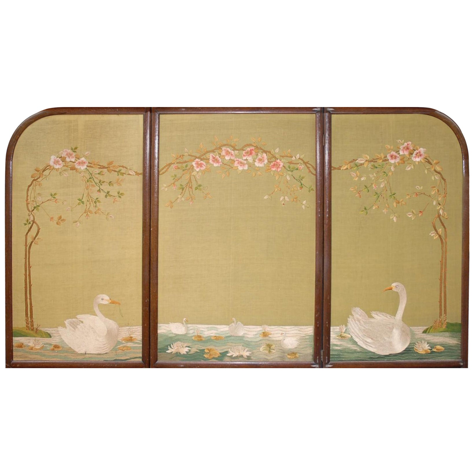 Large Chinese Three-Fold Wall Screen with Silk Lotus Flower and ...