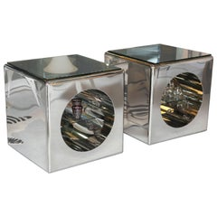 Modernism, Mirror-Polished, Seamless Stainless Steel Side Tables  Karl Springer