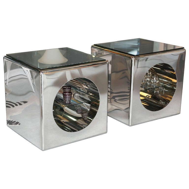 Modernism, Mirror-Polished, Seamless Stainless Steel Side Tables  Karl Springer For Sale