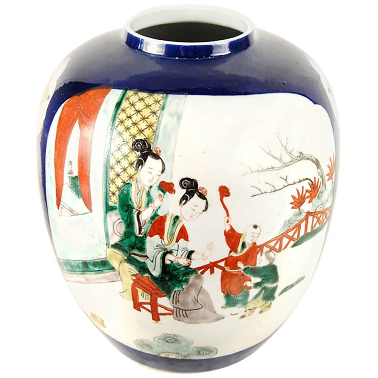 Chinese Two Beauties Globular Jar