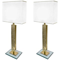 Italian Fine Design Contemporary Pair of Chased Gold Brass and Clear Glass Lamps