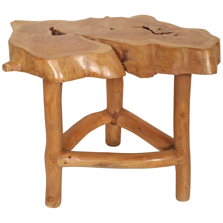 Bench Tables For Sale: Homemade Tree Slab Table / Stool For Sale At 1stdibs