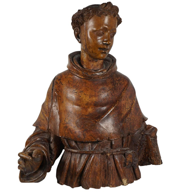 Lifesize Sienese Wood Carved Bust of a Monk, circa 1580-1600 For Sale