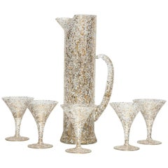 Paint Spattered Glasses and Pitcher Set