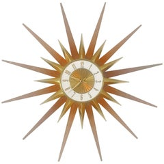 Elgin Brass and Teak Sunburst Clock, circa 1950