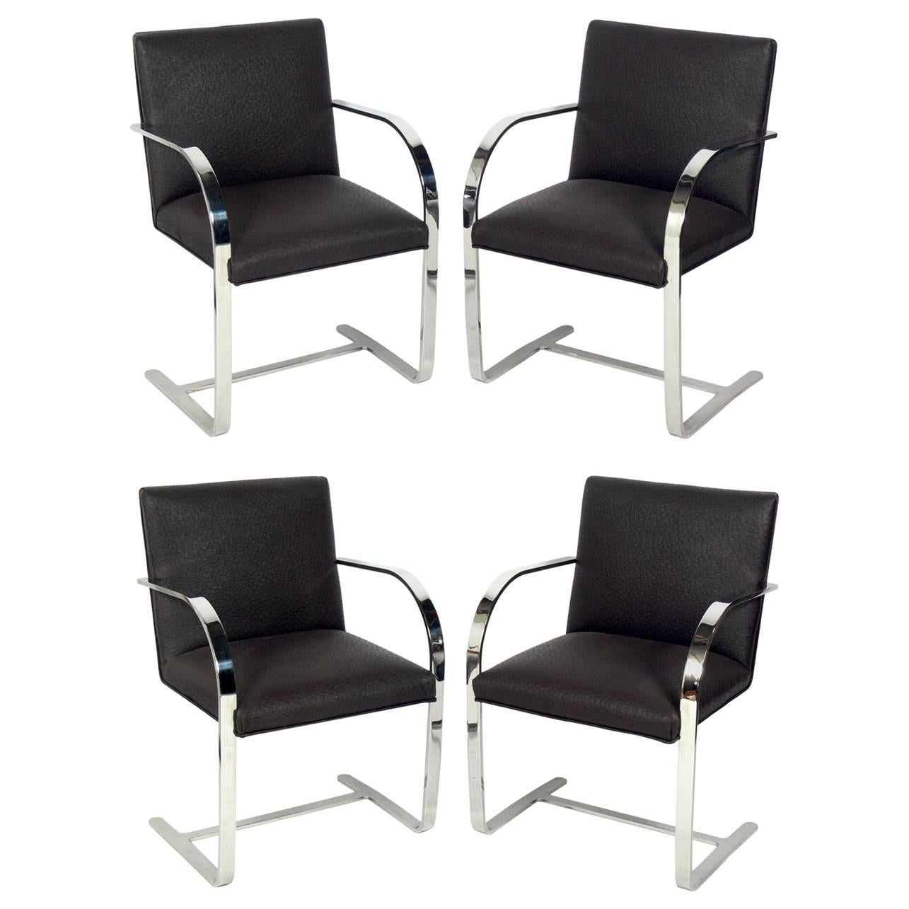 Set of Four Brno Chrome Dining Chairs after Mies van der Rohe