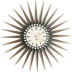 Danish Style Syroco Wood Sunburst Clock, circa 1950