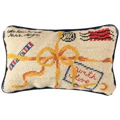 1960s French Letter Needlepoint Pillow
