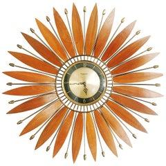 Forestville Brass Sunburst Clock, circa 1950