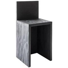 Minimalist Plywood 'Monument' Barstool in Black by Lukas Machnik