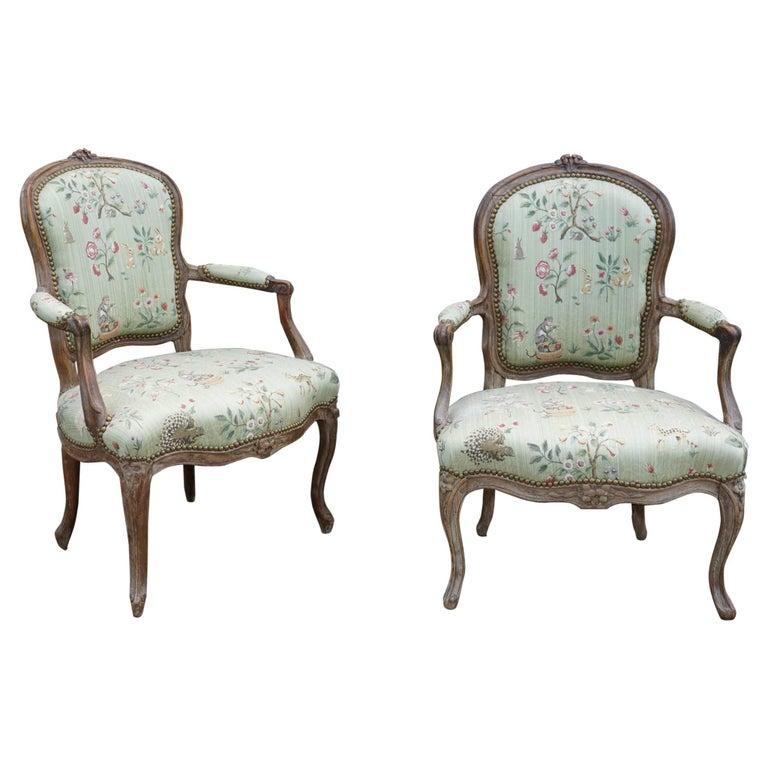 18th Century Pair of Beechwood Louis XV Fauteuil