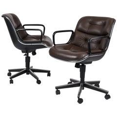 Ten Charles Pollock for Knoll Executive Office Chairs in Brown Leather