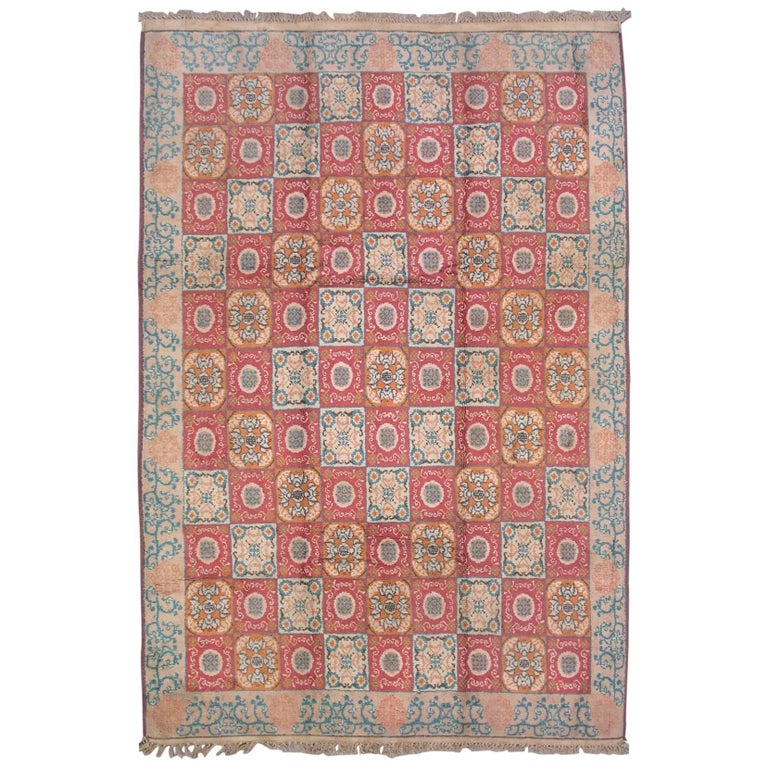 Antique Cotton Agra Rug With Abrash Circa 1900 For Sale: Antique Agra Rug For Sale At 1stdibs