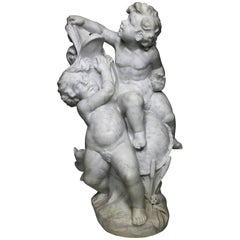 French 19th-20th Century Carved White Marble Group Sculpture with Children