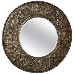 19th Century Renaissance Embossed Brass Mirror