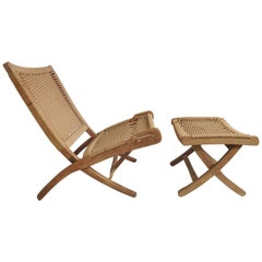 Mid-Century Folding Rope Chair with Ottoman