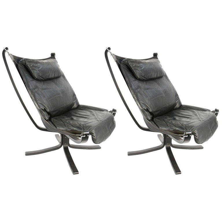 Two Pairs of Black on Black Falcon Chairs by Sigurd Resell for Vatne Møbler