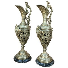 Pair of 19th Century Renaissance Revival Bronze Ewers