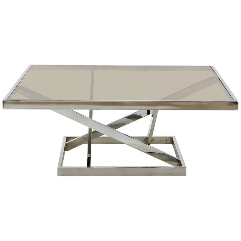 Square Chrome and Smoked Gray Glass Coffee Table Attributed to Milo Baughman For Sale