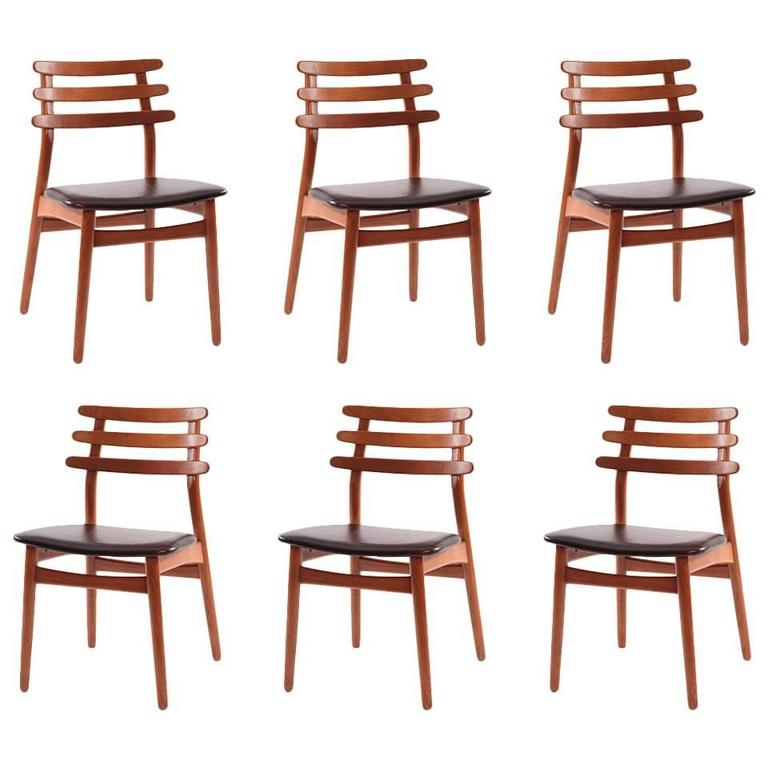 6 Poul Volther Oak and Leather Dining Chairs