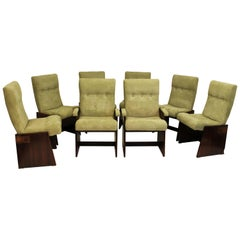 Vintage Mid-Century Modern Set of Eight Lane Brutalist Style Dining Chairs