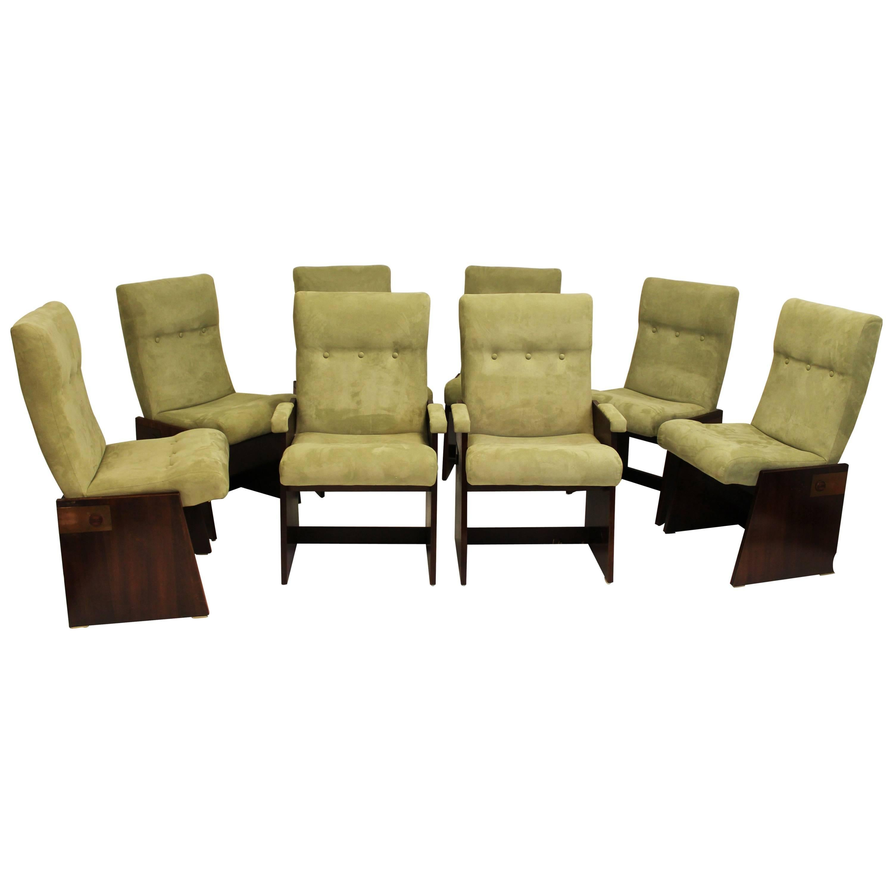 Vintage Mid Century Modern Set Of Eight Lane Brutalist Style Dining Chairs  For Sale