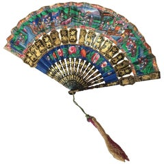 Lacquered Mandarin Chinese Landscape Fan with Box