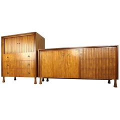 Mid-Century Modern Dresser and High Boy by John Widdicomb