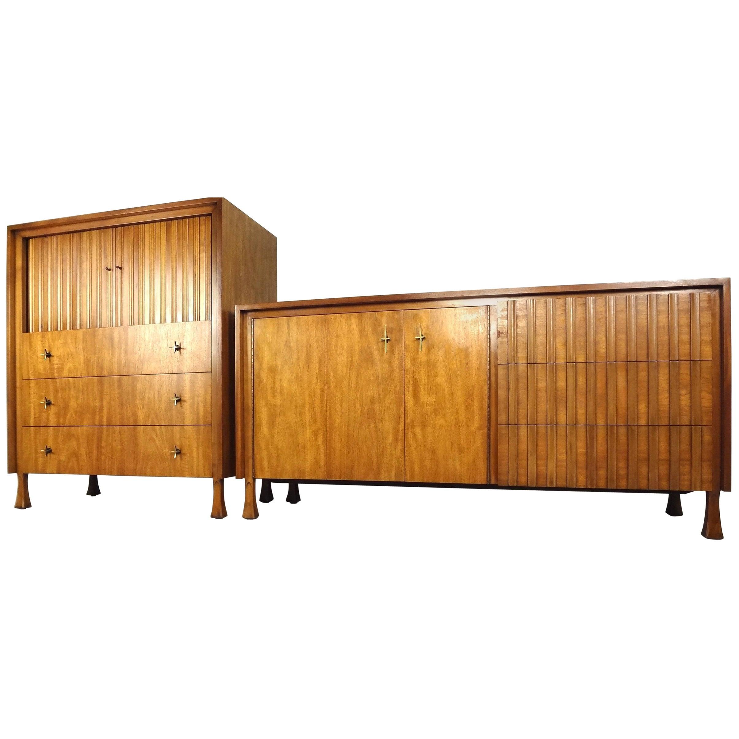 Mid-Century Modern Dresser and High Boy by John Widdicomb