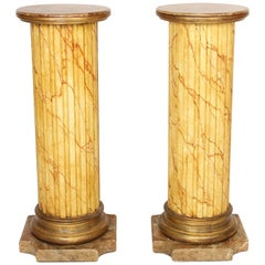 Pair of Mariano Garcia Faux Marble Pedestals