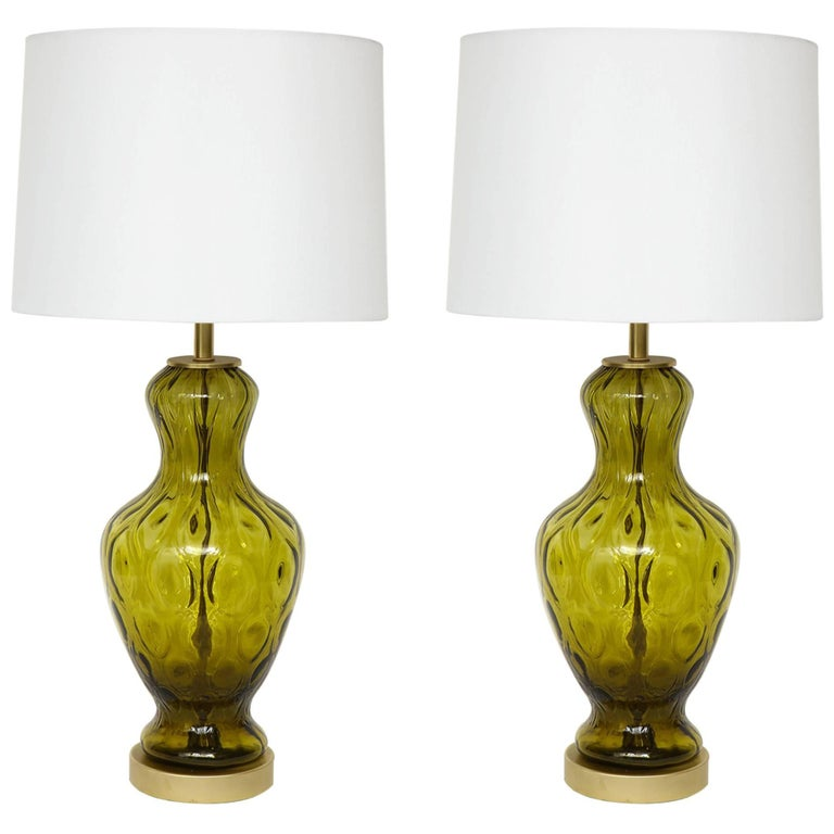 Blenko Moss Green Glass Lamps