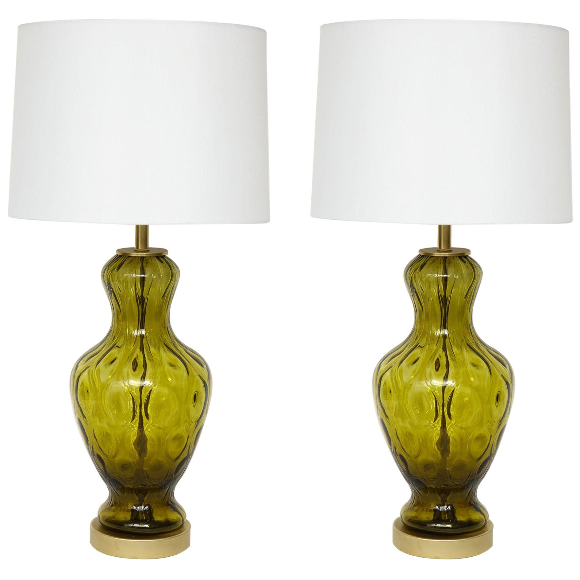 Blenko Moss Green Glass Lamps
