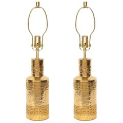 Bitossi Incised 22-Karat Gold Glazed Lamps