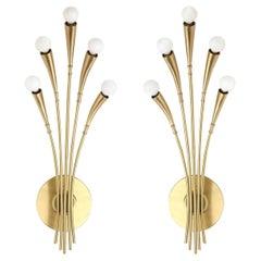 Oscar Torlasco Satin Brass Sconces
