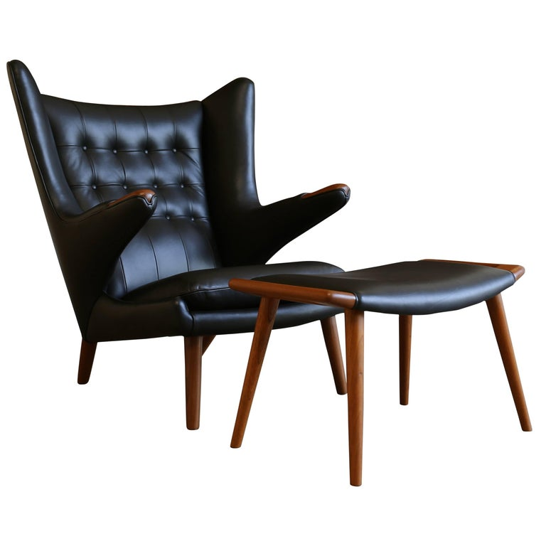 Black Leather Papa Bear Chair and Ottoman by Hans J. Wegner For Sale