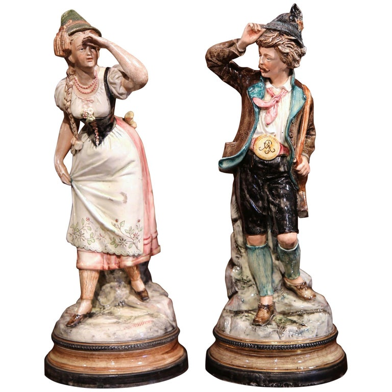 Pair of 19th Century German Porcelain Hand-Painted Figurative Figurines