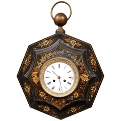 19th Century, French Black Octogonal Tole Wall Clock with Hand-Painted Flowers