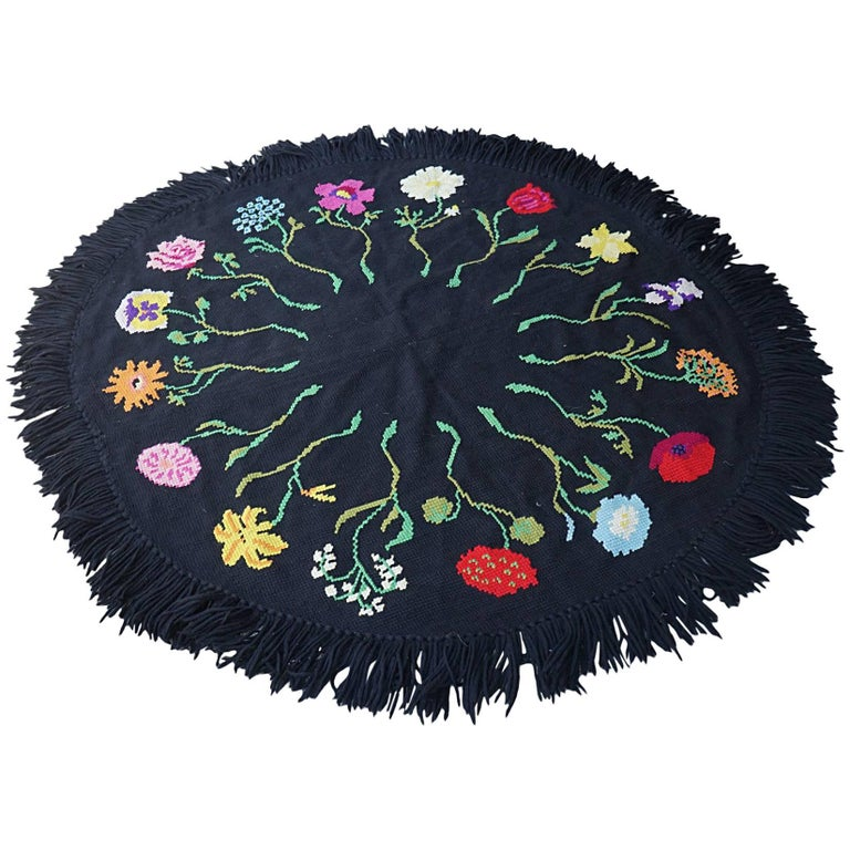 Vintage Hooked Yarn Rug from the Estate of Bunny Mellon