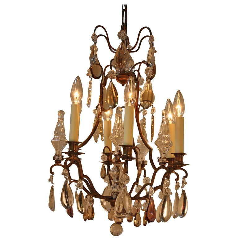 French Crystal and Bronze Chandelier