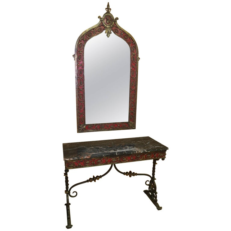 Art Deco Oscar Bach Attributed Mirror and Console Table Marble and Wrought Iron