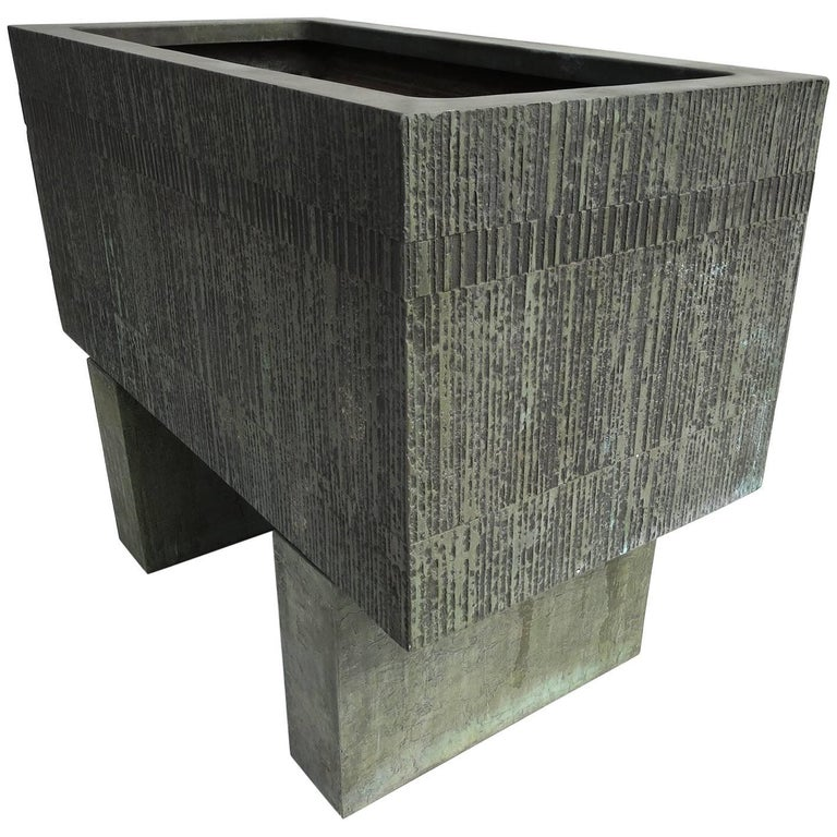 Forms and Surfaces Bronzed Fiberglass Planter with Optional Pedestal Legs 1