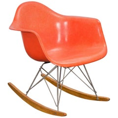 Eames Orange Armchair on Rocker Base
