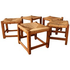 Vintage Wood Stools with Woven Rush Seats