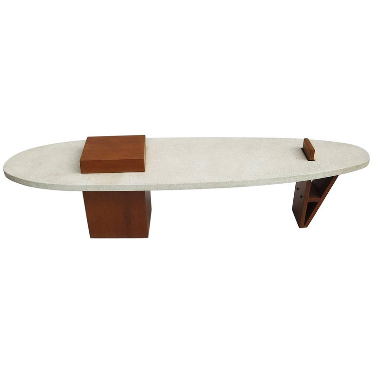 "Harvey Probber Style ""Surfboard"" Terrazzo and Walnut Coffee Table 1"