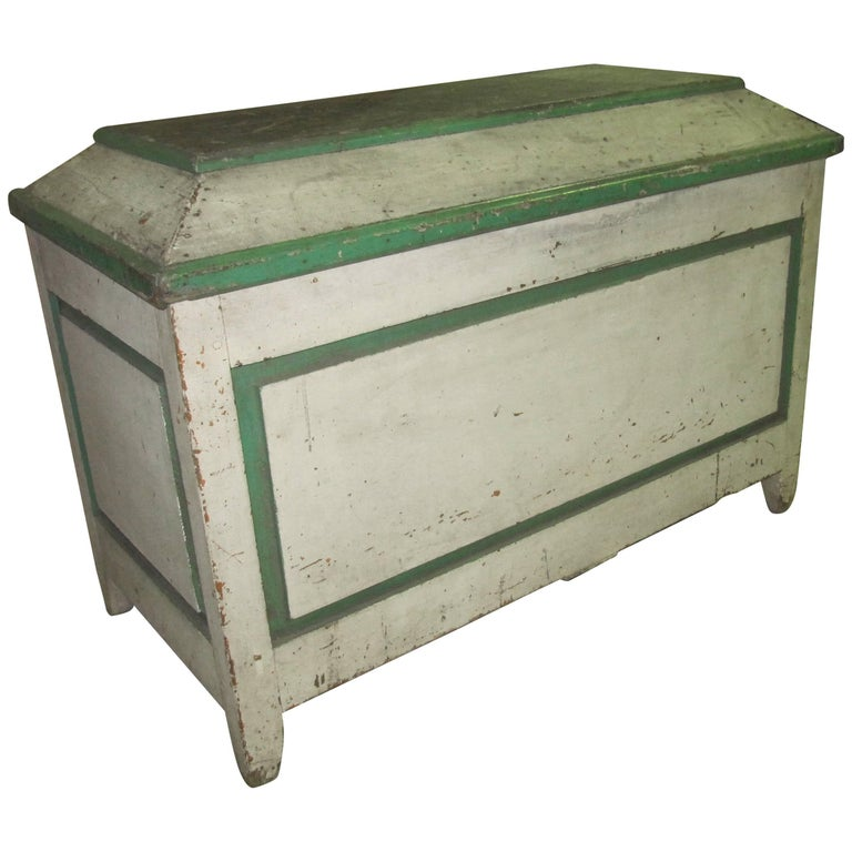 Handsome American Primative Blanket Chest with Wonderful Worn Painted Finish 1